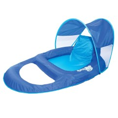 Chair Pool Floats High Back Wing Floating Chairs Swimways Spring Float Recliner Lounge W Sun Canopy Blue 13022