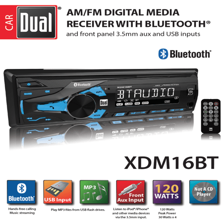 dual car radio wiring diagram 6 wire outlet electronics xdm16bt high resolution lcd single din stereo with built in bluetooth usb mp3 player walmart com