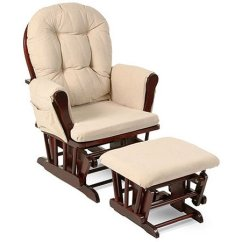 Walmart Rocking Chair Glider Gym Ab Exercises Storkcraft Bowback And Ottoman Cherry Finish Beige Cushions Com
