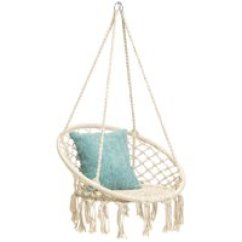 Hanging Chair Big W Egg On Stand Outdoor Chairs Walmart Com Product Image Best Choice Products Handmade Rope Hammock Tassels Beige