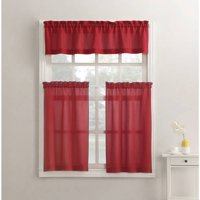 kitchen sheers 10x10 remodel cost curtains walmart com product image mainstays solid 3 piece curtain tier and valance set