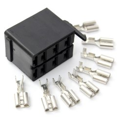 6 Way Square Trailer Wiring Diagram Doorbell Schematic Adapters 8pcs Set Female Spade Terminals Rocker Switch Car Boat Marine Connector Plug Socket Adapter