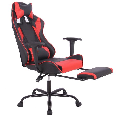 racing office chairs black leather chair dining gaming high back style lumbar support headrest walmart com
