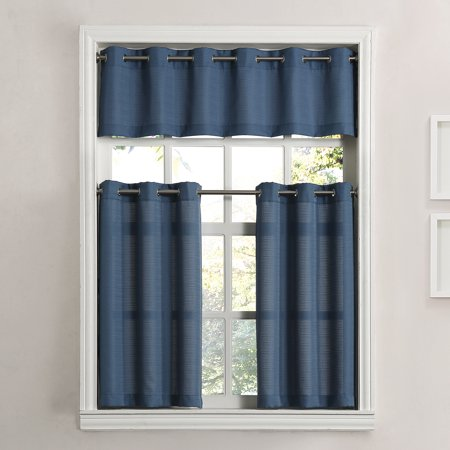 kitchen curtain american standard country sink mainstays solid grommet 3 piece tier and valance set