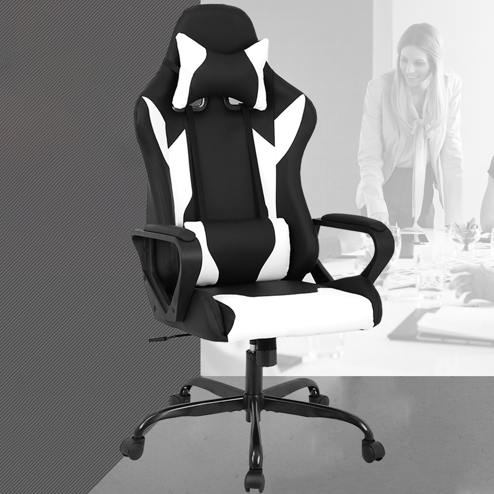 white rolling chair graco tot loc chairs racing office high back pu leather gaming reclining computer desk ergonomic