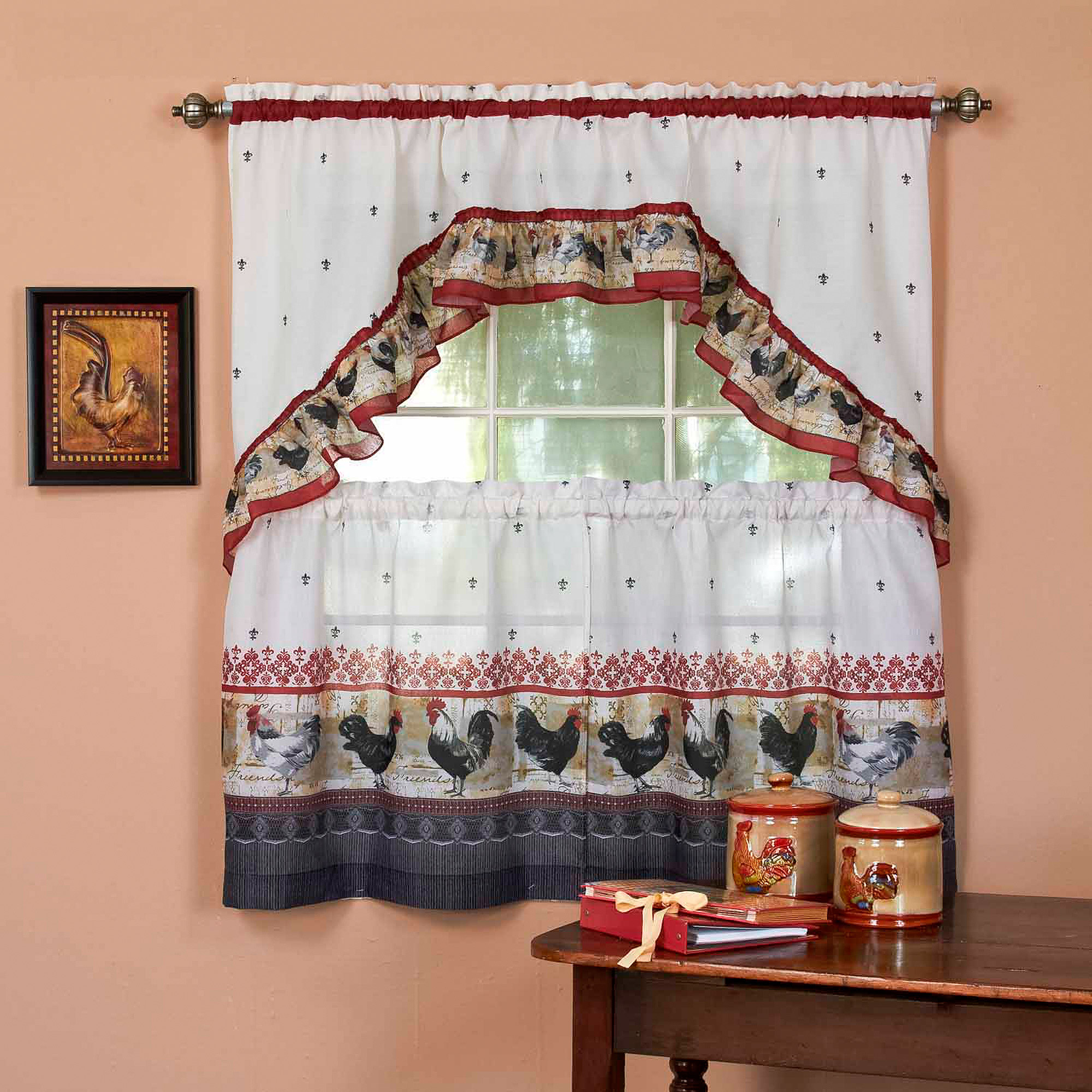 swag curtains for kitchen oil rubbed bronze sink achim curtain and set rooster