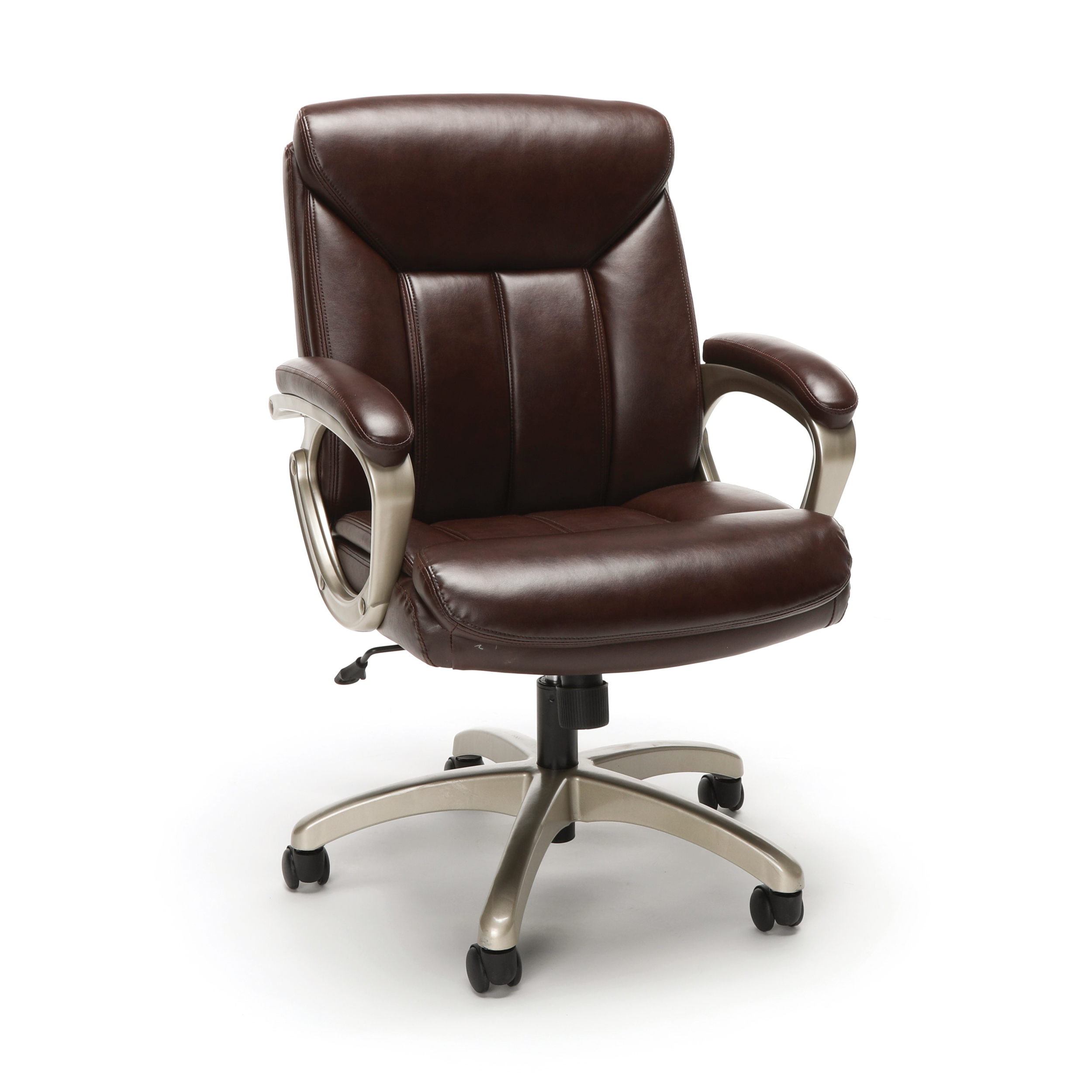 desk chair brown leather wedding covers hire huddersfield executive chairs essentials by ofm ess 6020 swivel office black with silver frame