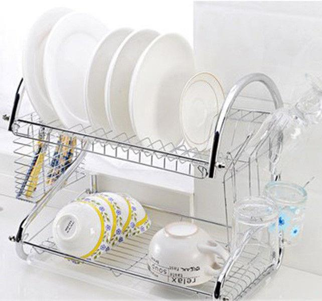 kitchen drainer basket kitchens for less dish drainers ktaxon stainless 2 layer multifunctional silver rack