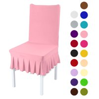 find chair covers for sale fishing toy wow dining walmart com product image stretchy spandex ruffled skirt short room washable removable seats protector slipcovers