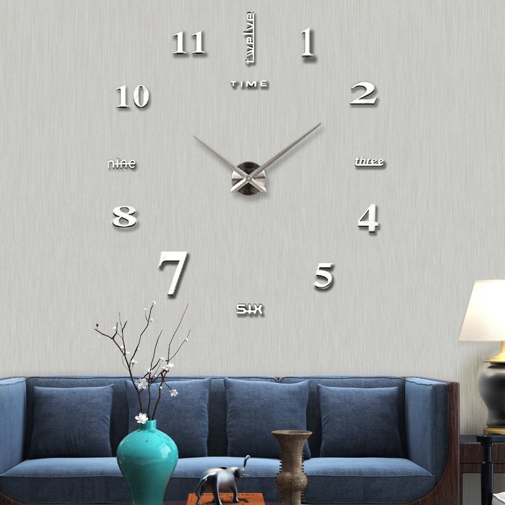 living room clocks next value city furniture mirror frameless wall clock large modern 3d mute diy stickers for