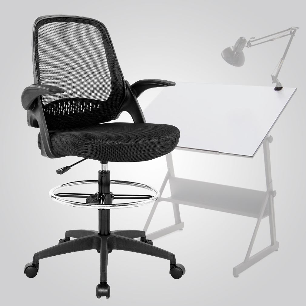 drafting chairs with arms chair pads kitchen ergonomic mid back mesh lumbar support flip up desk computer