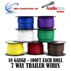 Trailer Plug Wiring Diagram 7 Way Chevy 2004 Passat Fuse Box Light Kit Wire Cable For Harness Led 100ft Each Roll 18 Gauge Rolls