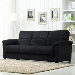 Sofa Microfiber Fabric Sleeper Couches Sale Roundhill Furniture Urban Storage Bed Black Walmart Com