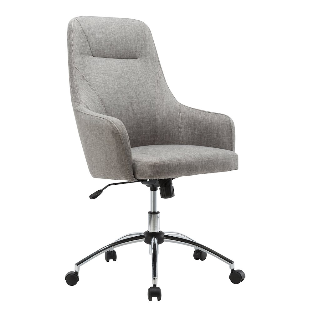 grey material office chair umbrella for fabric chairs techni mobili comfy height adjustable rolling desk rta 1007