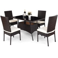 Rattan Table And Chairs Banquet Chair Covers With Arms Dining Sets Costway 5 Piece Outdoor Patio Furniture Cushioned Set