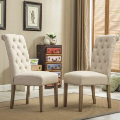 Parson Chairs Bin Bags Parsons Roundhill Furniture Habit Solid Wood Tufted Dining Chair Tan Set Of 2