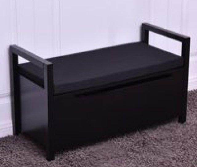Product Image Costway Shoe Bench Storage Rack Cushion Seat Ottoman Bedroom Hallway Entryway Black