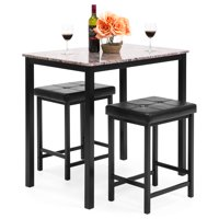 high top kitchen table set cabinets on a budget dining room sets walmart com product image best choice products marble w 2 counter height stools brown