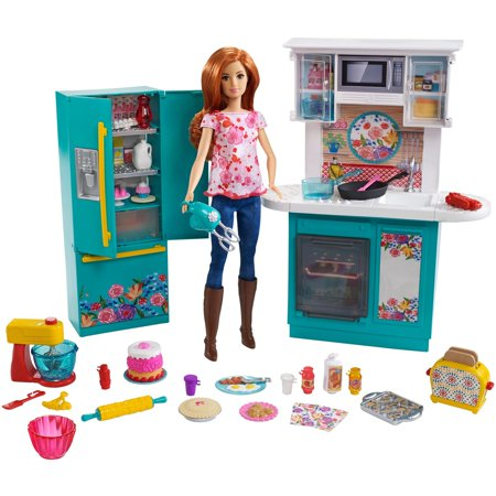barbie kitchen playset white faucet pull down pioneer woman ree drummond with cooking chef doll walmart com