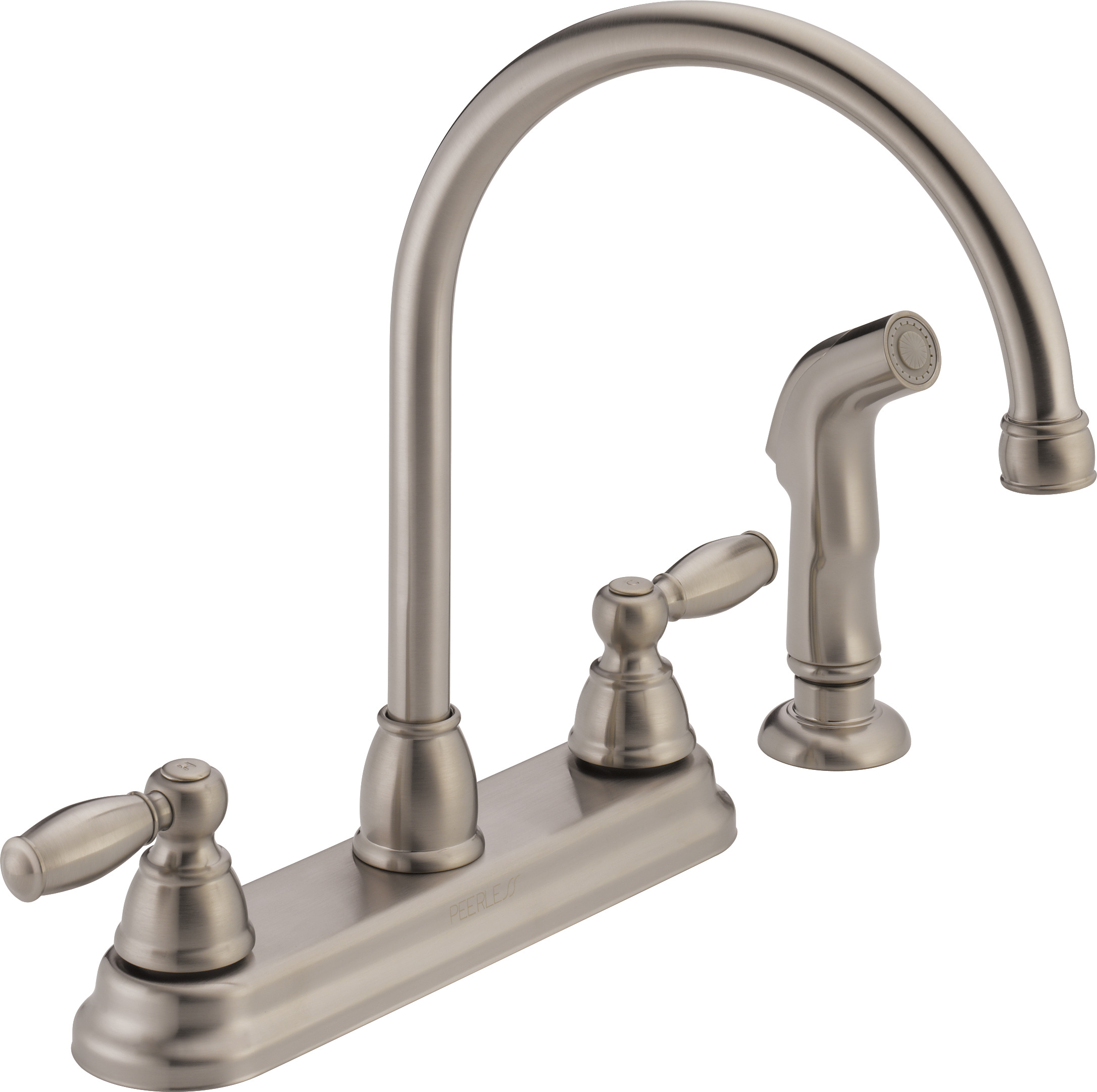 kitchen faucets cheap when remodeling a where to start peerless 2 handle faucet with side spray stainless steel