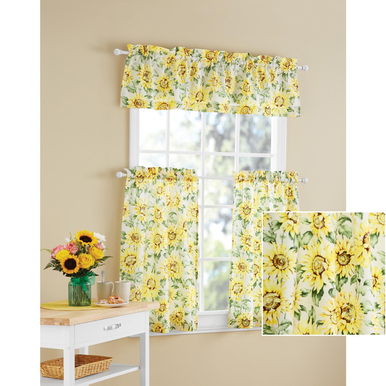 kitchen valences industrial light fixtures valances walmart com mainstays sunflower 3 piece curtain tier and valance set