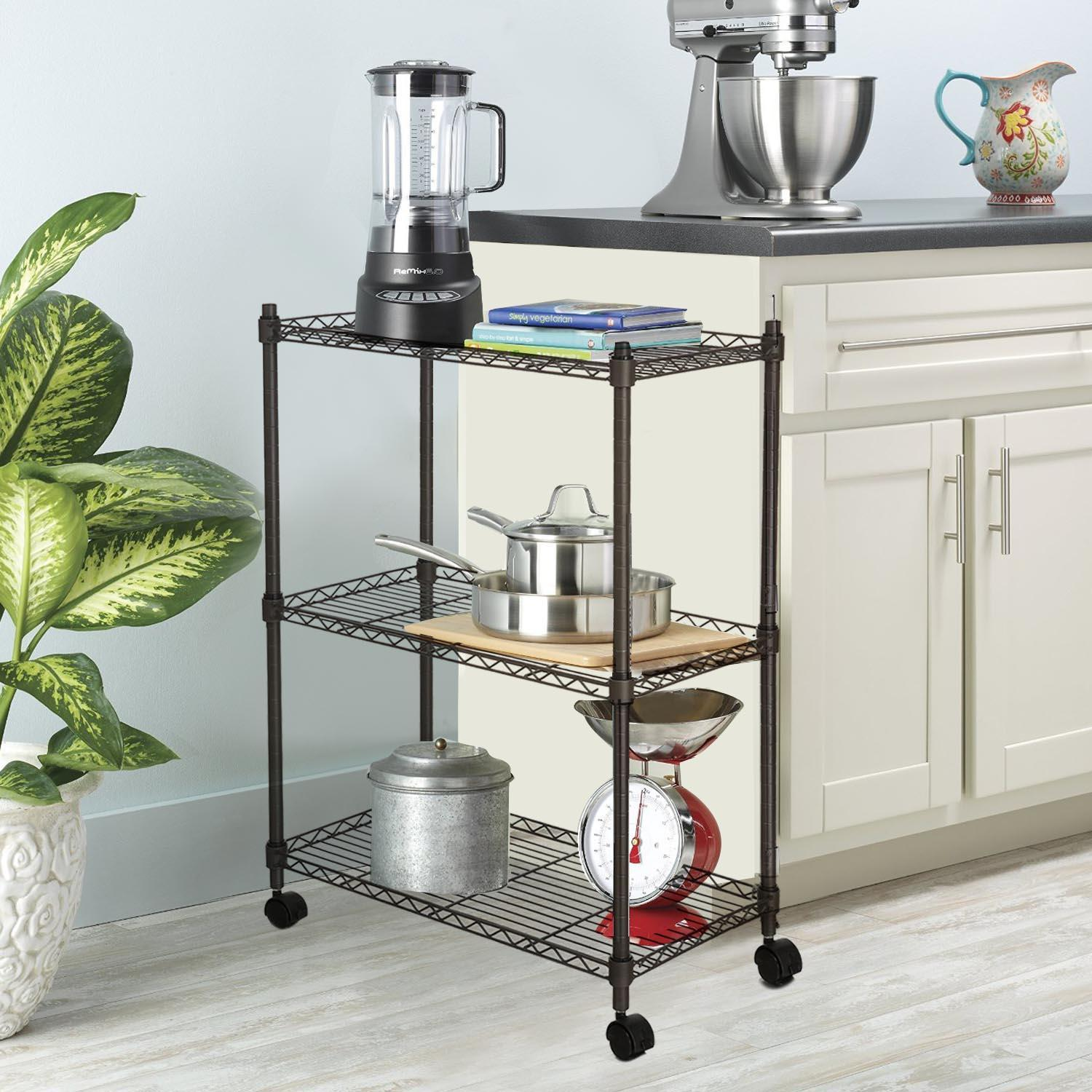 metal kitchen rack non skid rugs racks 3 tier heavy duty microwave oven stand storage cart