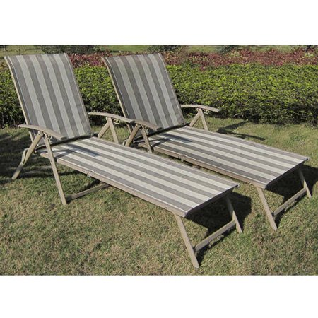 folding chaise lounge chair outdoor white metal and wood chairs mainstays fair park sling set of 2