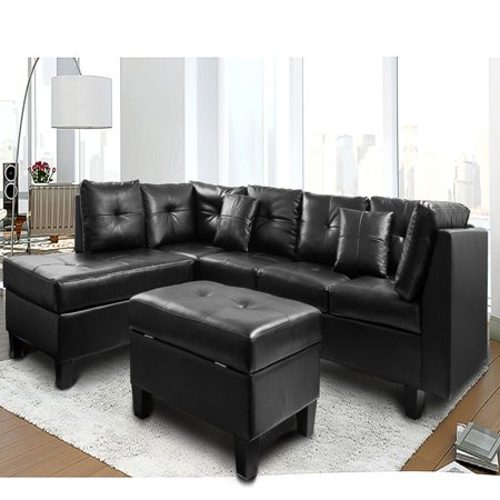 bright sofa single seater bed india harper designs sectional with chaise and storage ottoman black walmart com