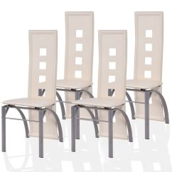 White Leather Chairs Dining Office Chair Images Ghp 4 Pcs Cream Pu Seat Steel Legs High Curved Back