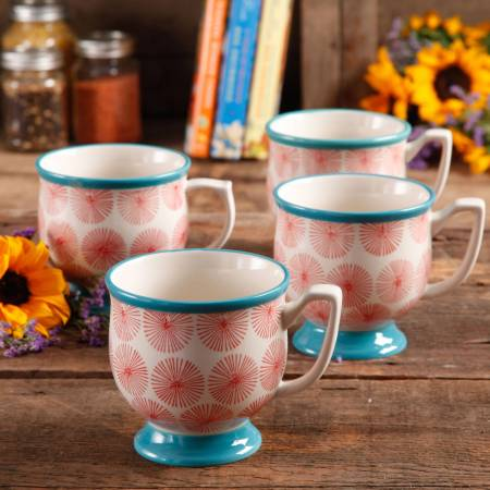 The Pioneer Woman Flea Market Happiness 15 oz Decorated Mugs, Red & Turquoise