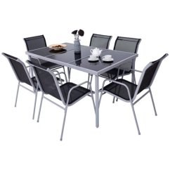 6 Chair Dining Set Wingback For Sale Costway Patio Furniture 7 Piece Steel Table Chairs Outdoor Glass Top Walmart Com