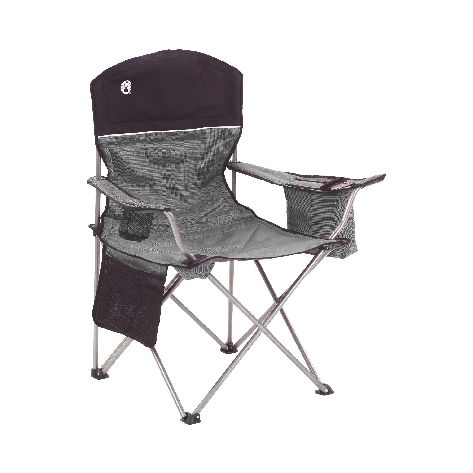 rocky oversized folding arm chair camo camp camping chairs coleman quad with cooler and cup holder black gray 2000020256