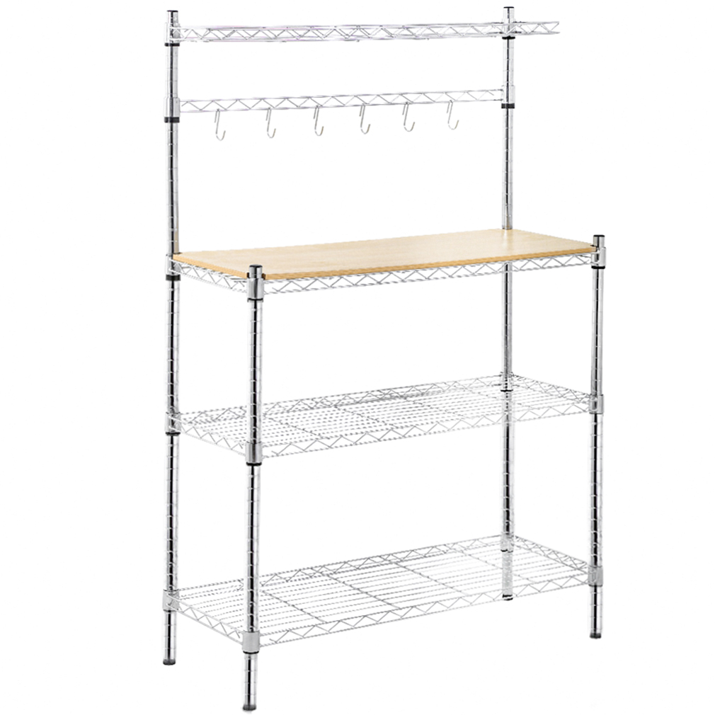 metal kitchen rack dark blue cabinets racks baker s organizerstand shelf m icrowave cart storage countertop dorm microwave stand
