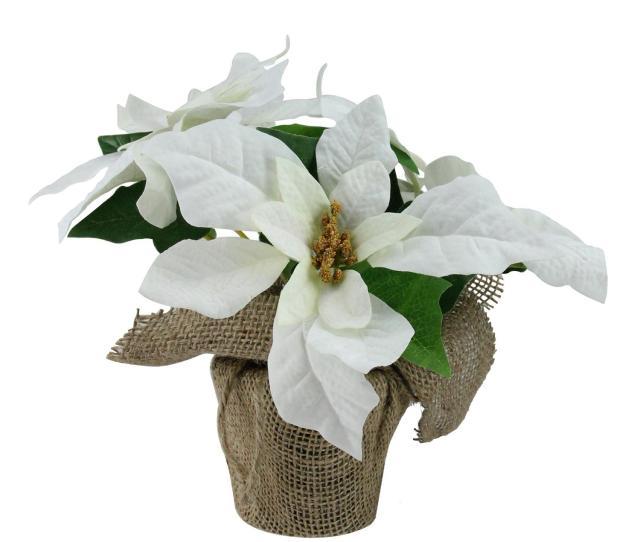 White Poinsettia Flower Artificial Christmas Floral Arrangement