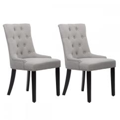 White Fabric Dining Chairs Chair Covers Wholesale Cape Town Room Set Of 2 Elegant Upholstered Side W Nailhead Gray