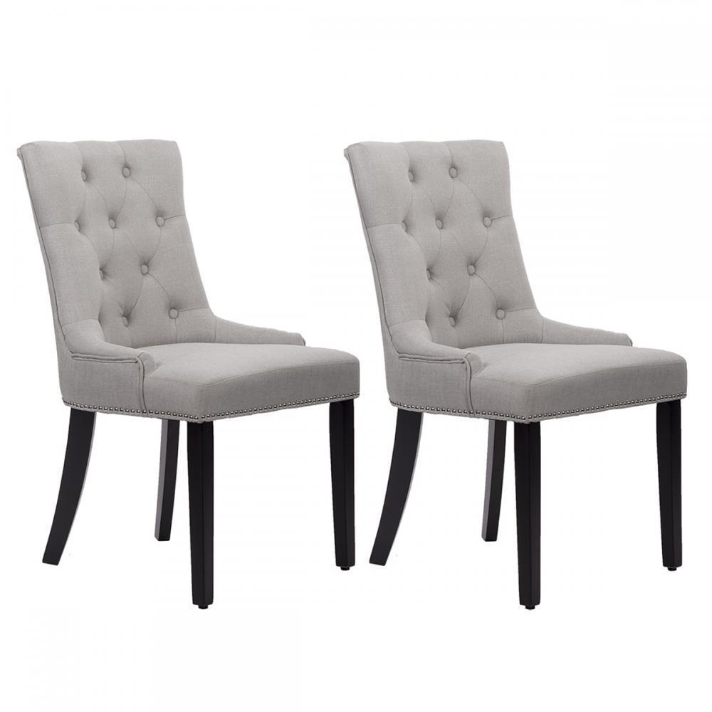 cloth dining room chairs rocky mountain folding fabric set of 2 elegant upholstered side w nailhead gray