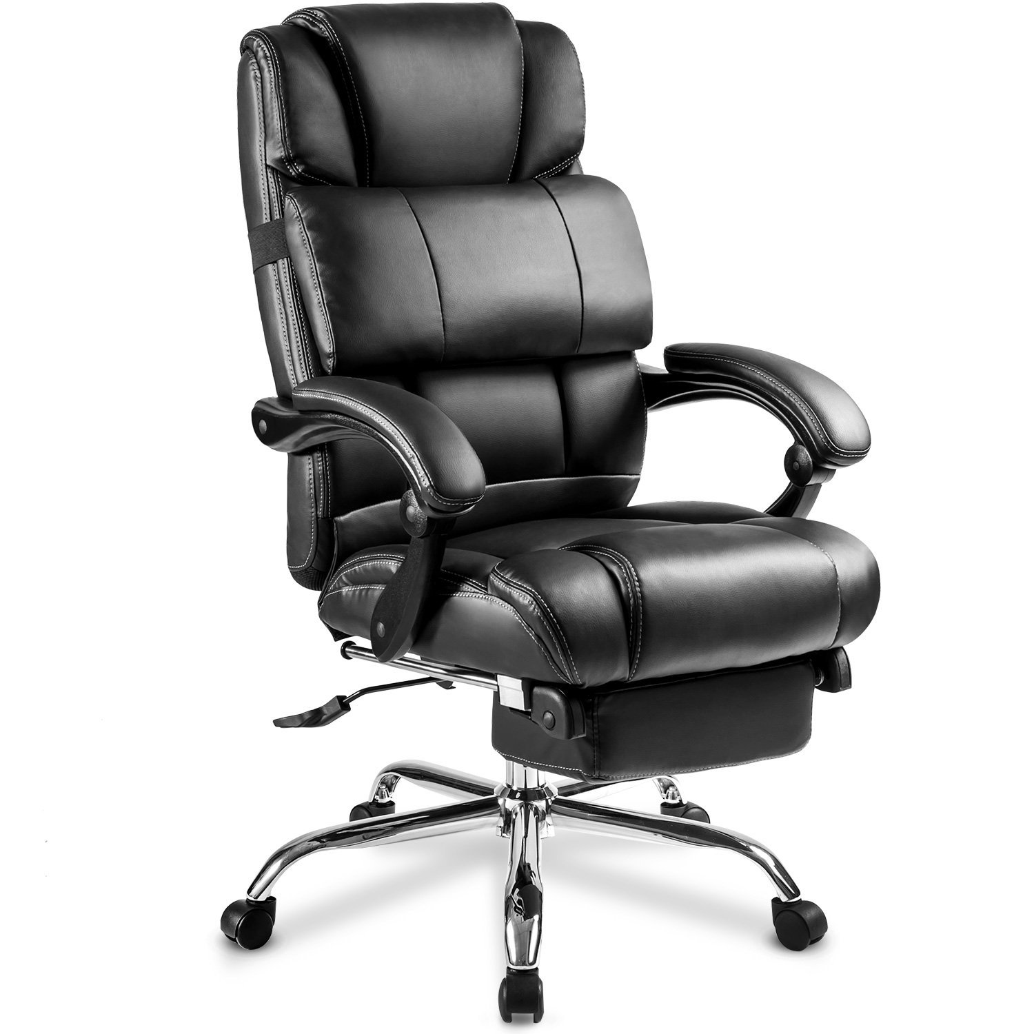 big and tall office chairs tufted chaise lounge chair merax ergonomic leather with footrest black