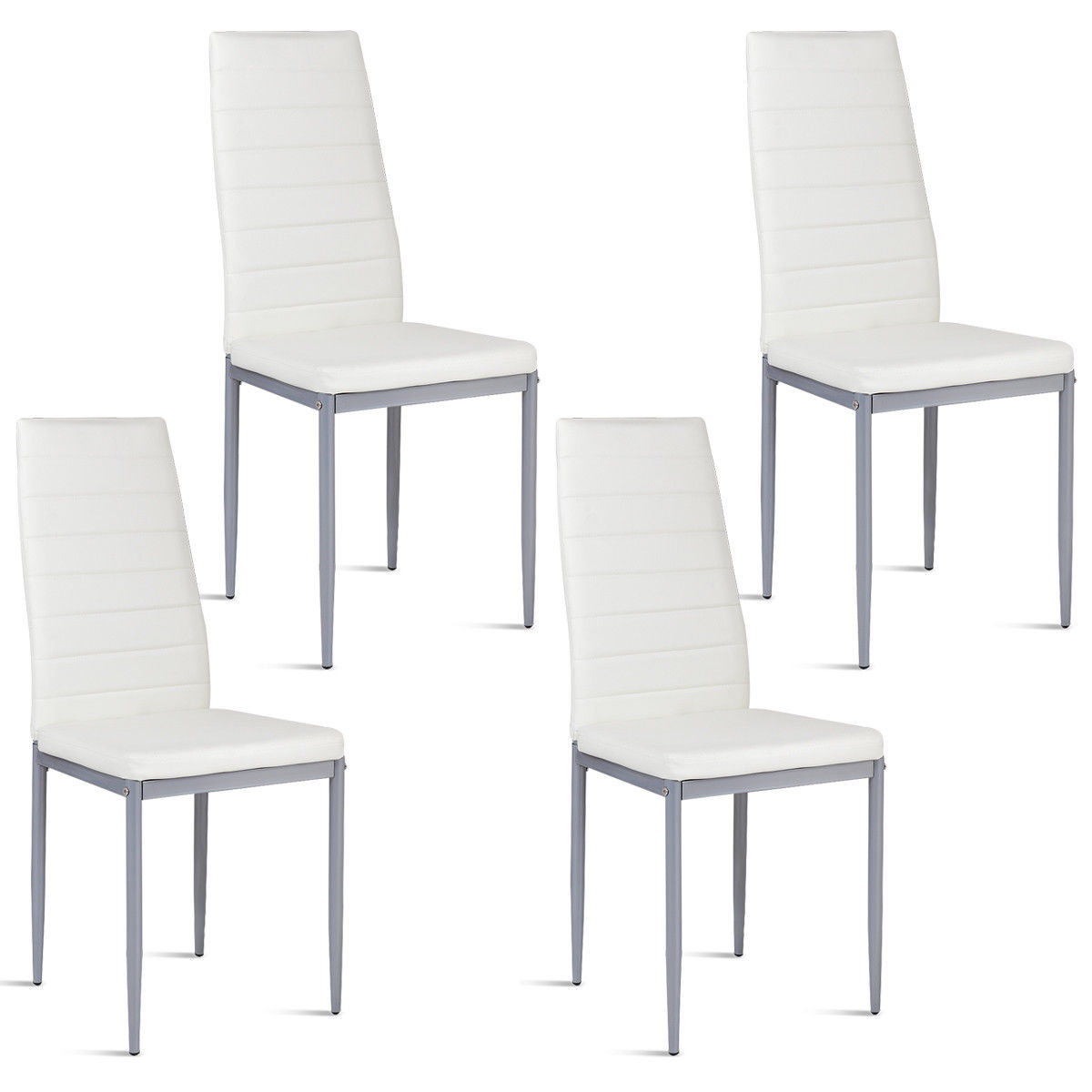 white leather chairs dining graco hook on table high chair costway set of 4 pu side elegant design home furniture