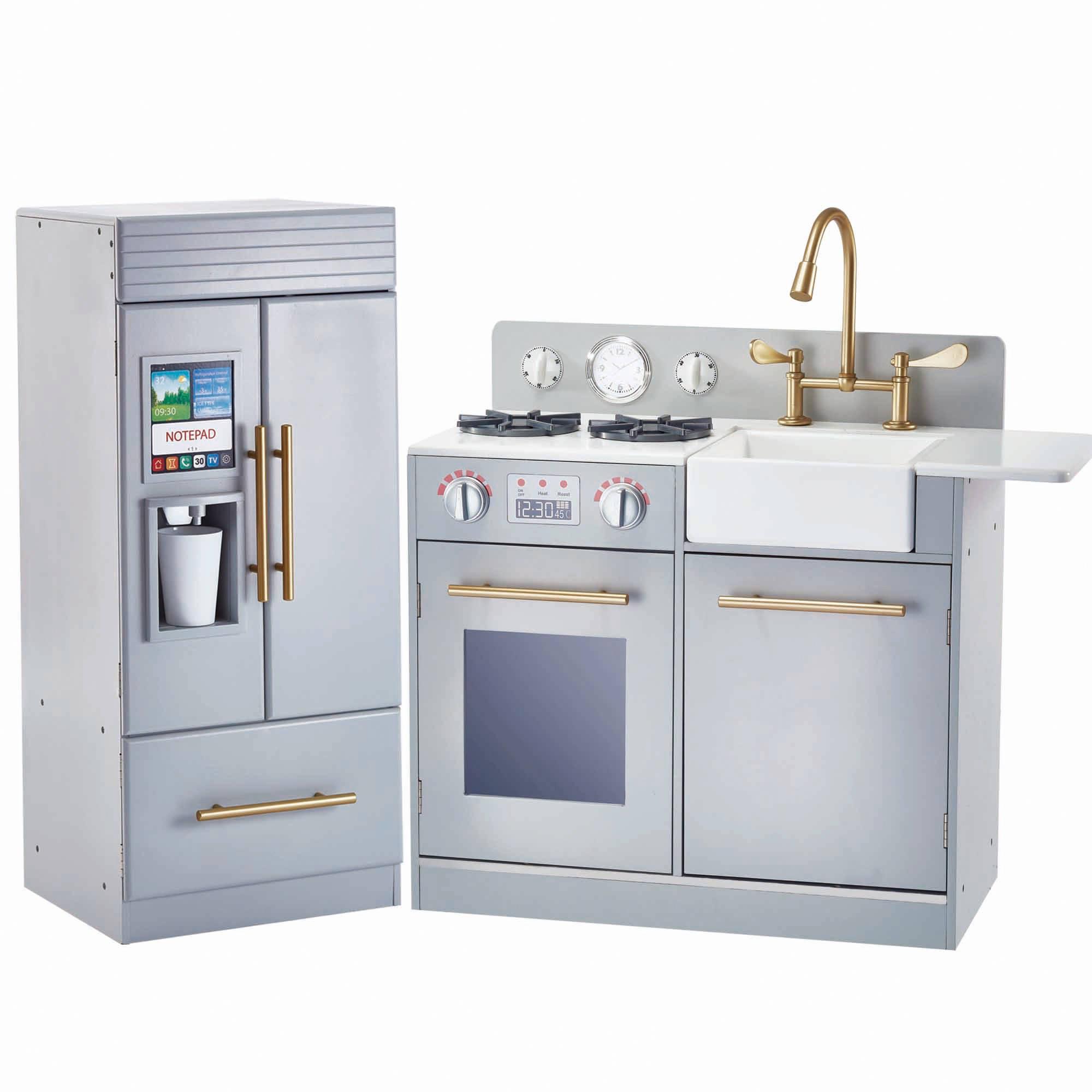 kid kitchens vintage kitchen decor kids sets teamson little chef chelsea modern play silver grey