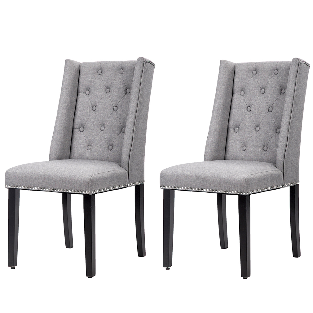 white tufted chairs stool bar chair accent set of 2 grey elegant dining side button fabric w nailhead
