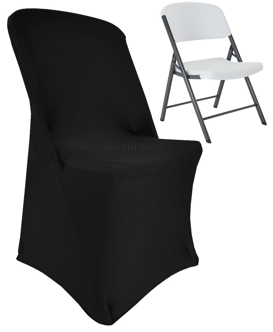 black spandex chair covers for sale chairs tweens wedding linens inc lifetime stretch fitted folding party decoration cover