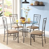 round dining chairs walking stick chair seat sets walmart com product image mainstays 5 piece glass and metal set 42 tabletop