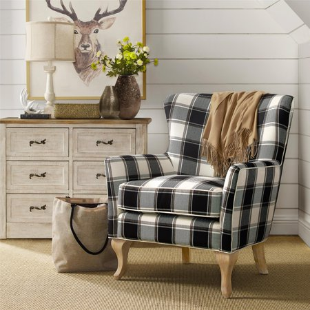 black and white accent chairs with arms cordaroys bean bag dorel living middlebury checkered pattern chair walmart com