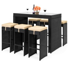 Bar Height Table And Chairs Outdoor Desk Chair Mat For Carpet Patio Sets Best Choice Products 7 Piece Rattan Wicker Dining Furniture Set W
