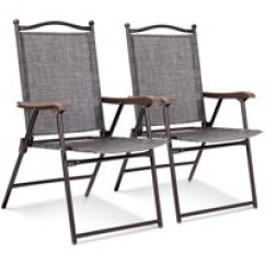 Low Back Lawn Chair 9 Posture Kneeling Uk Chairs Walmart Com Product Image Costway Set Of 2 Patio Folding Sling Camping Deck Garden Beach Gray