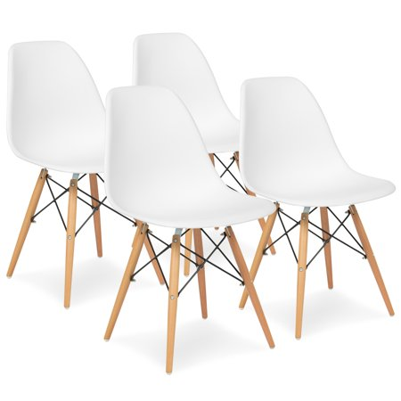 set of 4 dining chairs chair and half slipcover t cushion best choice products mid century modern eames style w wood legs molded plastic shell white walmart com