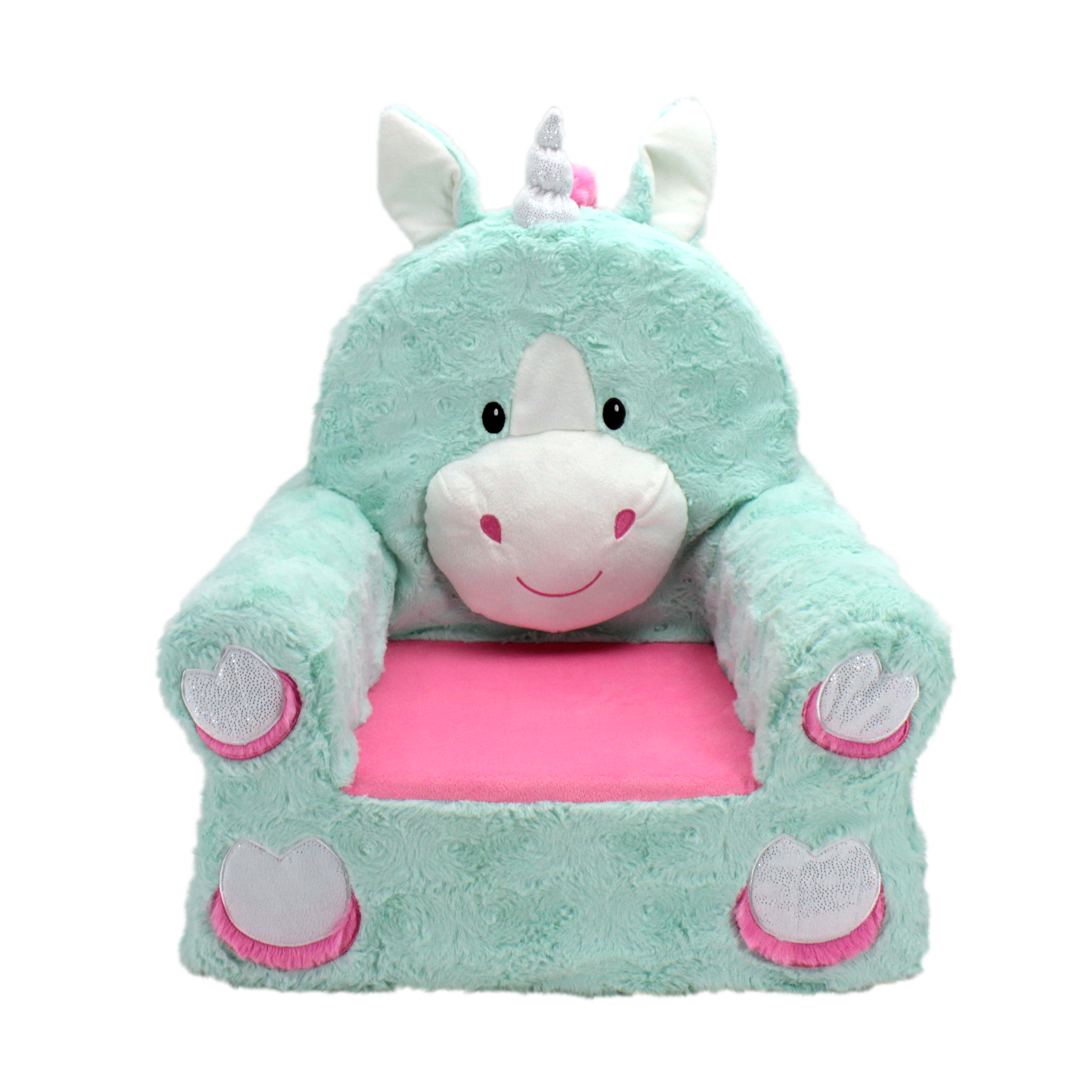frozen flip sofa canada electric recliner chair motor kids sofas sweet seats adorable teal unicorn children s standard size machine washable removable cover