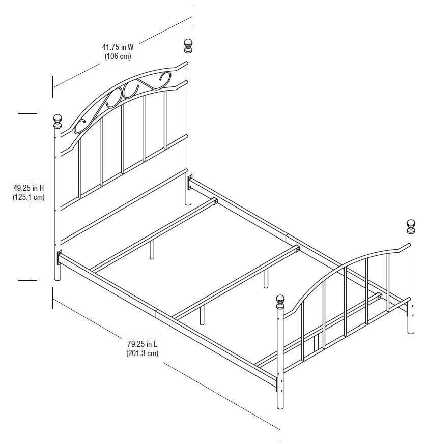 Mainstays Traditional Metal Bed, Twin, White, With