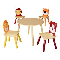 table and chairs for kids dining chair covers duck egg blue sets walmart com product image senda wooden animals set 5 piece