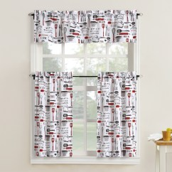 Kitchen Curtain Sets Rustic Valances Mainstays Bistro 3 Piece Tier And Valance Set